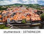 view of city cesky krumlov ... | Shutterstock . vector #1076046134