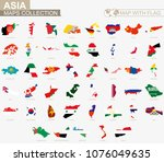 map with flag asian countries... | Shutterstock .eps vector #1076049635