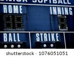 Small photo of Detail of baseball scoreboard score board with ball strike home and innings