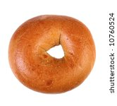 Fresh Baked Plain Bagel on Isolated Background - stock photo