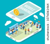 mobile banking vector flat 3d... | Shutterstock .eps vector #1076061464