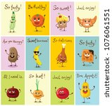 funny cards with healthy and... | Shutterstock .eps vector #1076061551
