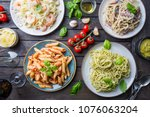 several plates of pasta with... | Shutterstock . vector #1076063204