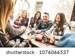 Stock photo millennial friends group having fun using mobile smart phone youth and technology interaction 1076066537