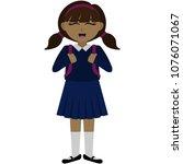 happy school girl in uniform... | Shutterstock .eps vector #1076071067