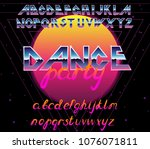 80's retro alphabet font.... | Shutterstock .eps vector #1076071811
