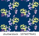 floral seamless pattern with... | Shutterstock .eps vector #1076079641