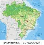 detailed brazil physical map. | Shutterstock .eps vector #1076080424