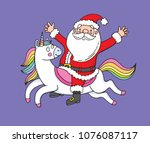 a cute drawing of santa riding... | Shutterstock .eps vector #1076087117