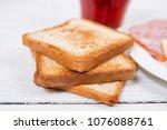 breakfast with tea  toasts and... | Shutterstock . vector #1076088761