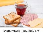 breakfast with tea  toasts ... | Shutterstock . vector #1076089175