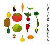 flat vegetables icons set....   Shutterstock .eps vector #1076089604