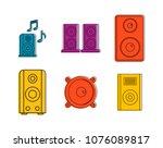 speaker icon set. color outline ...   Shutterstock .eps vector #1076089817