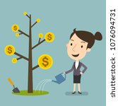 businesswoman watering money... | Shutterstock .eps vector #1076094731