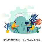 vector illustration  online... | Shutterstock .eps vector #1076095781