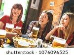 happy girlfriends women group... | Shutterstock . vector #1076096525