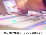 tv editor working with audio... | Shutterstock . vector #1076105114