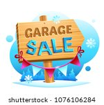 snow garage sale  wooden... | Shutterstock .eps vector #1076106284