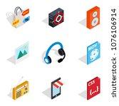 computing machine icons set....