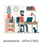 bearded man with hipster... | Shutterstock .eps vector #1076117651