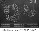 drawings of steel structures.... | Shutterstock .eps vector #1076118497
