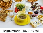 stylish ramadan  iftar  table... | Shutterstock . vector #1076119751