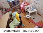 mess in the room. scattered... | Shutterstock . vector #1076127554