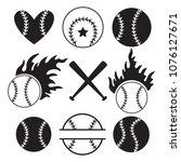 set of baseball balls  bats ... | Shutterstock .eps vector #1076127671