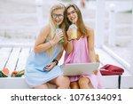 two girls girlfriends drink... | Shutterstock . vector #1076134091