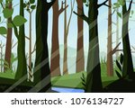 vector illustration of sunset... | Shutterstock .eps vector #1076134727