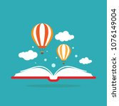 open book with air balloon and... | Shutterstock .eps vector #1076149004