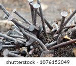the rusty oxid nails   Shutterstock . vector #1076152049