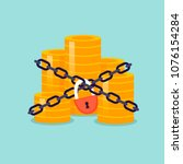 money is wrapped in chains and... | Shutterstock .eps vector #1076154284
