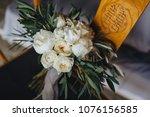 wedding bouquet of white... | Shutterstock . vector #1076156585
