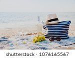 picnic background with bag ... | Shutterstock . vector #1076165567