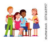 multiracial children group chat ... | Shutterstock .eps vector #1076165957