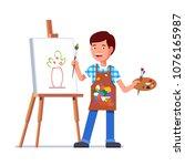 small boy arts student kid... | Shutterstock .eps vector #1076165987