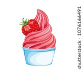 soft berry ice cream in a cup.... | Shutterstock .eps vector #1076166491