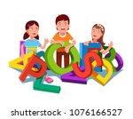 cheerful school kids sorting  ...   Shutterstock .eps vector #1076166527