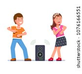 cheerful boy and girl dance to... | Shutterstock .eps vector #1076166551