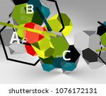 3d hexagon geometric... | Shutterstock .eps vector #1076172131