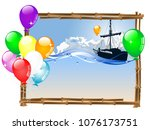 summer frame with ship and... | Shutterstock .eps vector #1076173751