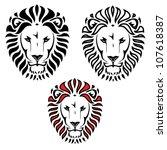 Stock vector lion head tattoo vector illustration 107618387