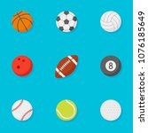 set of sports balls flat style... | Shutterstock .eps vector #1076185649