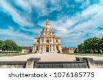obverse view of les invalides... | Shutterstock . vector #1076185775