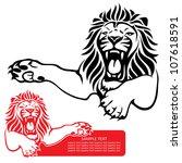 Lion Label   Vector Illustration