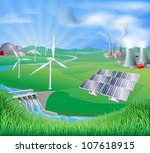 Different power generation, nuclear, fossil fuel coal, renewable energy sustainable energy sources such as wind power wind turbines, photovoltaic cells solar panels, and hydro electric or water power - stock photo
