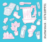 vector sticker set with hand... | Shutterstock .eps vector #1076189951