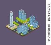 isometric city building... | Shutterstock .eps vector #1076191739