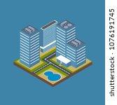 isometric city building... | Shutterstock .eps vector #1076191745